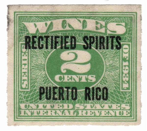 1938 2c Puerto Rico Rectified Spirits, green