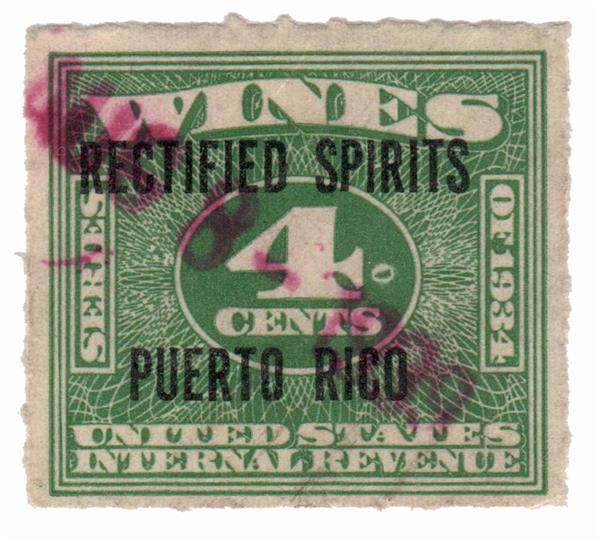 1938 4c Puerto Rico Rectified Spirits, green