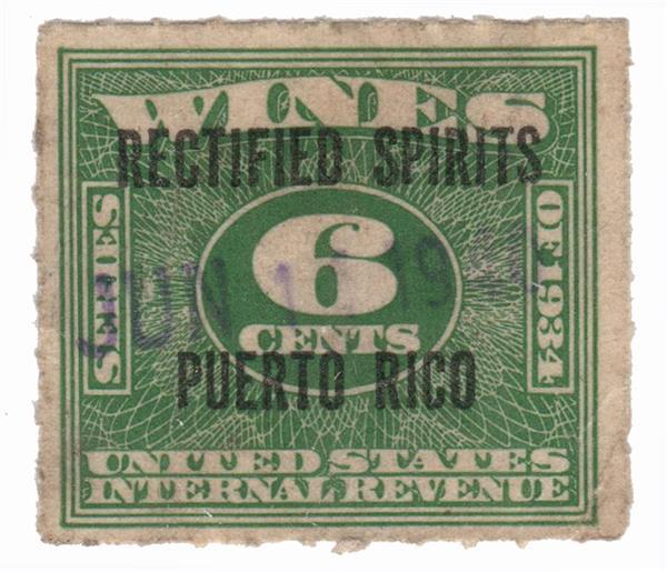 1938 6c Puerto Rico Rectified Spirits, green