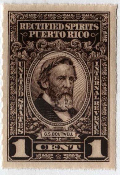 1942-57 1c Puerto Rico Rectified Spirits, sepia, without gum