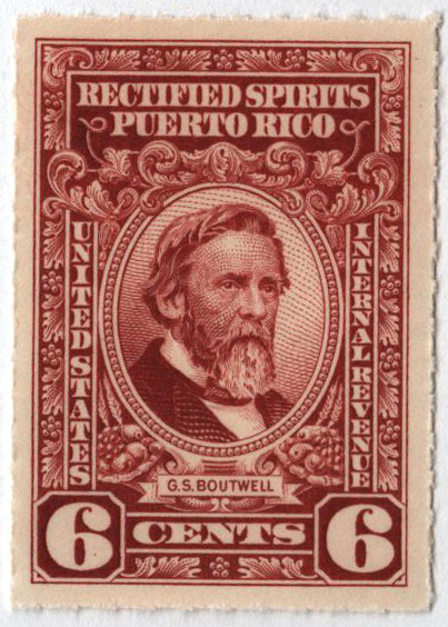 1942-57 6c Puerto Rico Rectified Spirits, red brown, without gum