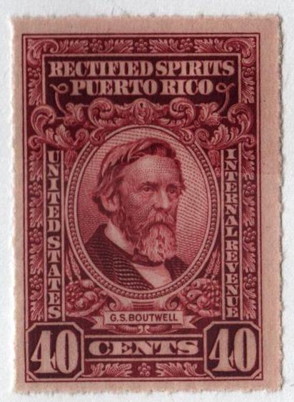 1942-57 40c Puerto Rico Rectified Spirits, deep claret, without gum