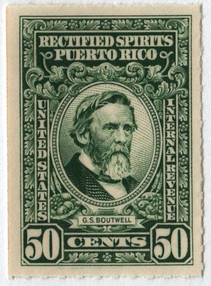 1942-57 50c Puerto Rico Rectified Spirits, green, without gum