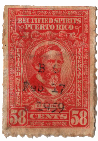 1942-57 58c Puerto Rico Rectified Spirits, red orange, without gum