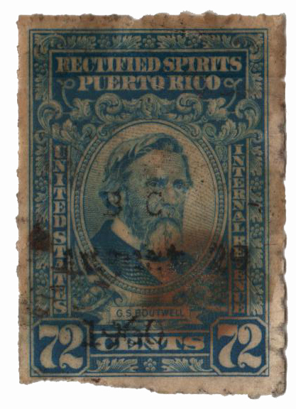 1942-57 72c Puerto Rico Rectified Spirits, blue, without gum