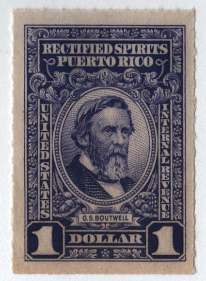1942-57 $1 Puerto Rico Rectified Spirits, violet, without gum