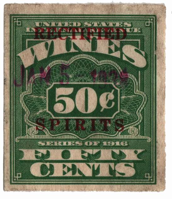 1937 50c Puerto Rico Rectified Spirits, green