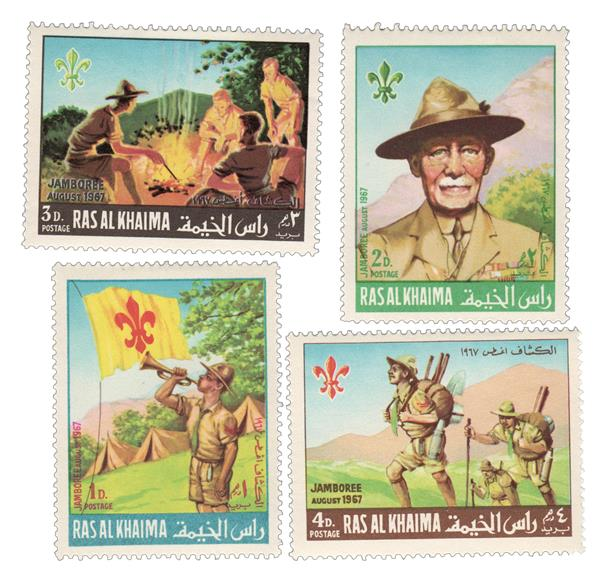1967 Ras Al Khaima - 12th Boyscout Jamboree in Idaho, Set of 4