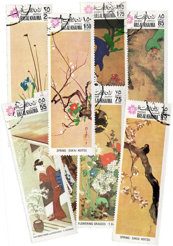 1970 Ras Al Khaima - Japanese Paintings, Complete Set of 8