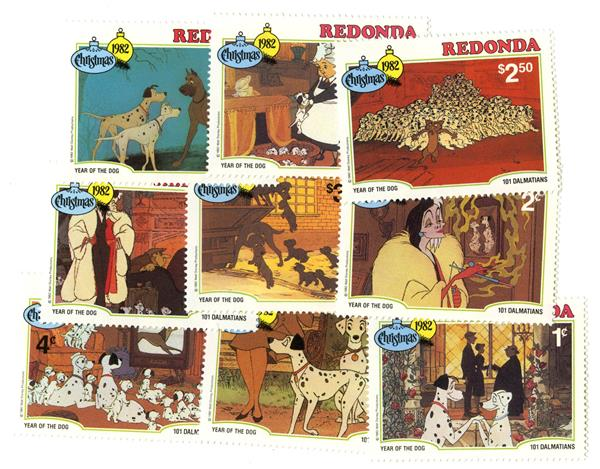 Redonda 1981 101 Dalmatians, 9 Stamps