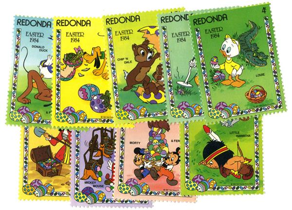 Redonda 1984 Easter Egg Hunt, 9 Stamps