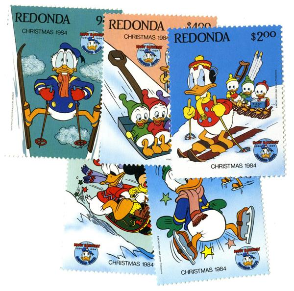 Redonda 1984 Donald Duck, 5 Stamps