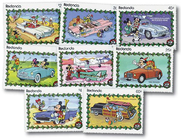 Redonda 1989 Cars of the 50's, 8 Stamps