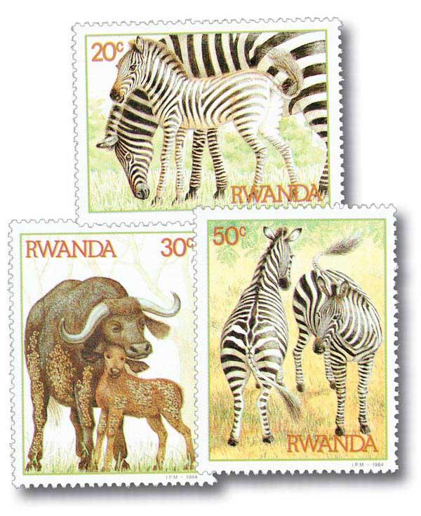 Rwanda Animals, 3 stamps Mint