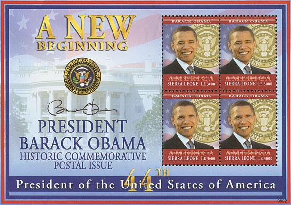 2009 President Barack Obama, 4 Stamps, Mint, Sierra Leone