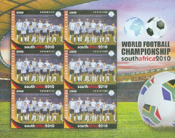 2010 Sierra Leone World Cup Argentina Stamp Sheet