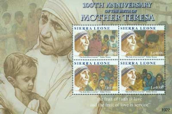 2010 Sierra Leone Mother Teresa 4v Mint