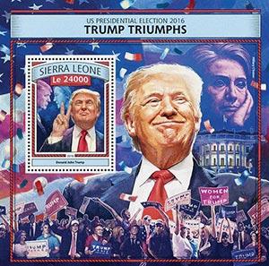 2016 Le 24000 US Presidentail Election - Trump Triumphs, Mint Souvenir Sheet, Sierra Leone