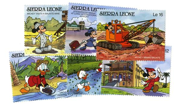 1990 Disney Characters, Mint, Set of 6 Stamps, Sierra Leone