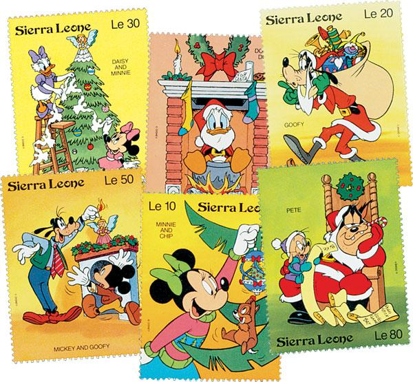 1992 Disney Christmas - Mickey and Friends, Mint, Set of 6 Stamps, Sierra Leone