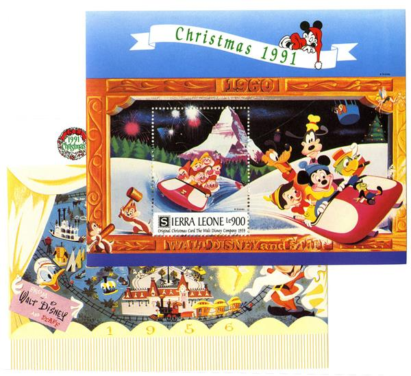 Disney Christmas Cards.Sierra Leone 1991 Disney Christmas Cards For Sale At Mystic