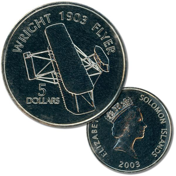 2003 $5 Solomon Islands Cupro-nickel Coin - Wright 1903 'Flyer'