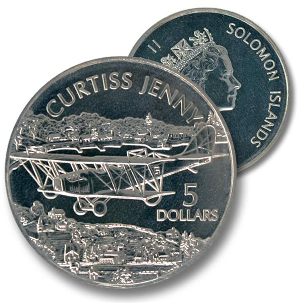 2003 $5 Solomon Islands Cupro-nickel Coin - Curtis 'Jenny'