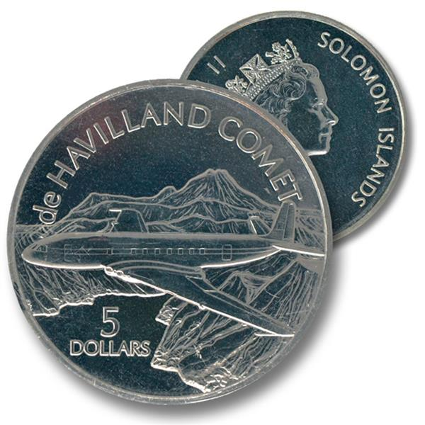 2003 $5 Solomon Islands Cupro-nickel Coin - de Haviland 'Comet'