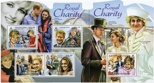 2012 $9 Royal Charity sheet of 4 & connected s/s of 1
