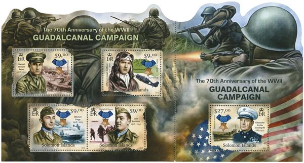 2012 $9 WWII Guadalcanal Campaign 70th Anniv. sheet of 4 & connected s/s of 1