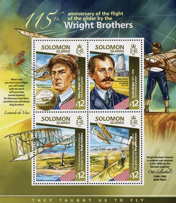 2015 $12 Wright Bros Glider Flight 115th Anniversary, Mint Sheet of 4 Stamps, Solomon Islands