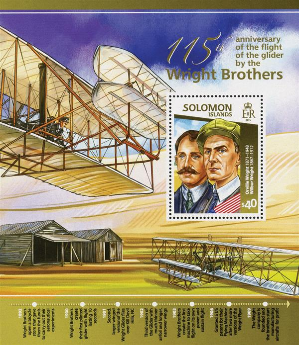 2015 $40 Wright Brothers Glider Flight-115th Anniversary Mint Souvenir Sheet, Solomon Islands