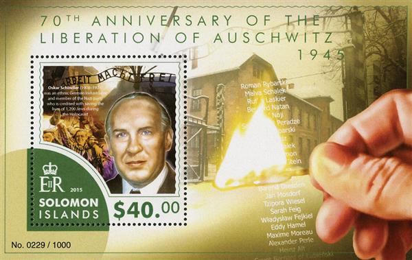 2015 $40 Auschwitz Liberation 70th Anniversqry - Oscar Shindler, Mint Souvenir Sheet, Soloman Islands