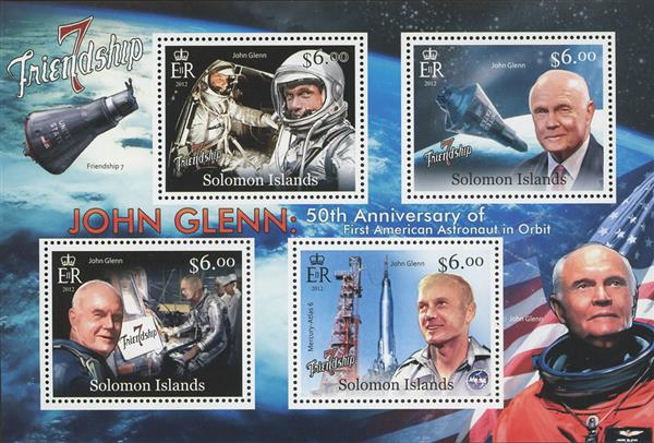 2012 $6 John Glenn, 50th Anniversary of First American in Orbit sheet of 4