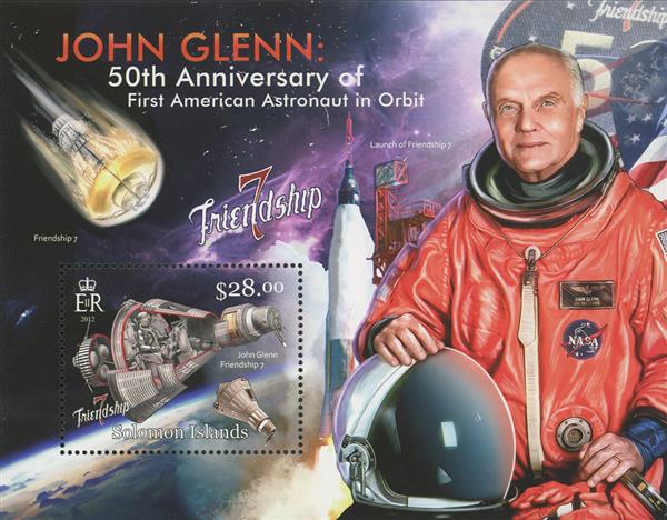 2012 $28 Friendship 7, 50th Anniversary of First American in Orbit souvenir sheet of 1