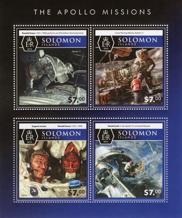 2015 $7 Ronald Evans, The Apollo Missions sheet of 4