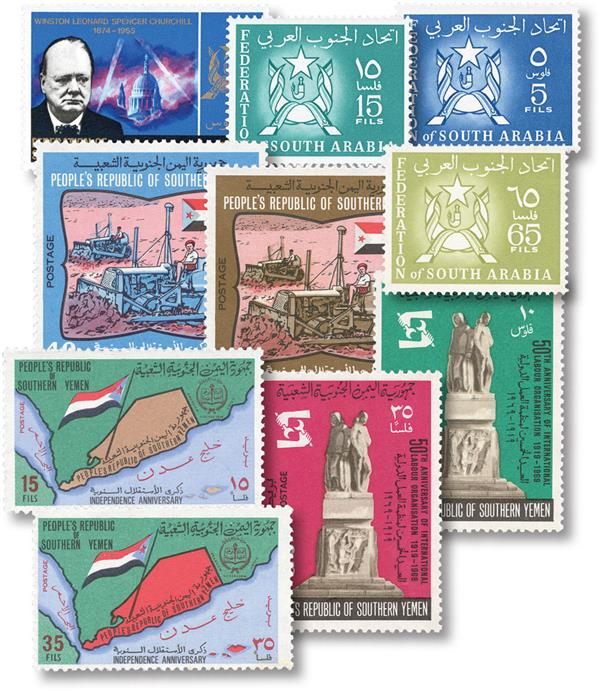South Arabia 10 Different Stamps
