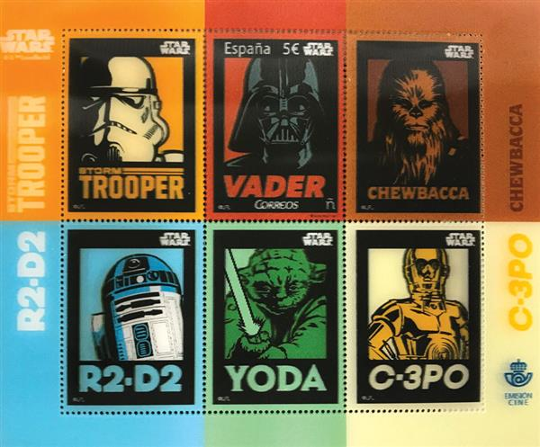 2017 5C Vader, Star Wars Characters 3D sheet of 1 stamp & 5 labels