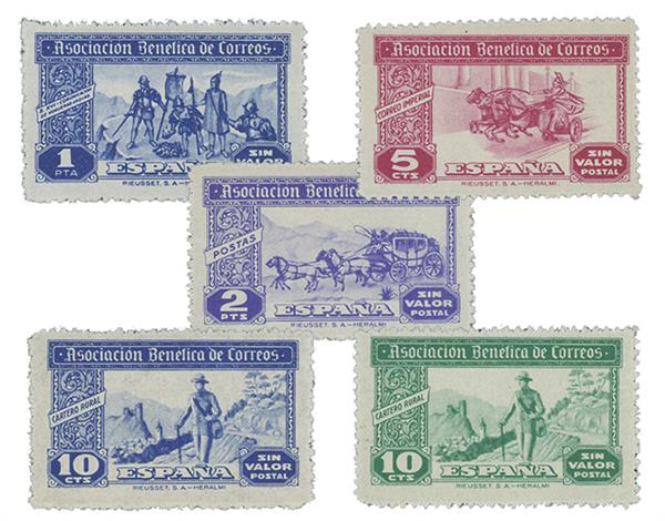 1944 Spanish Charity Labels Set of 5 Issued to Benefit Spanish Post Office