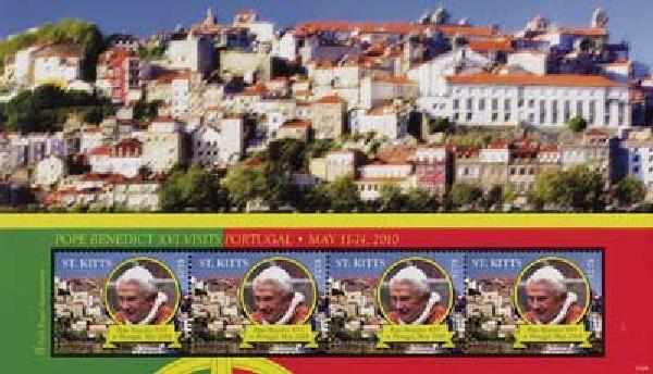 2010 St. Kitts Pope Benedict XVI 4v Mint