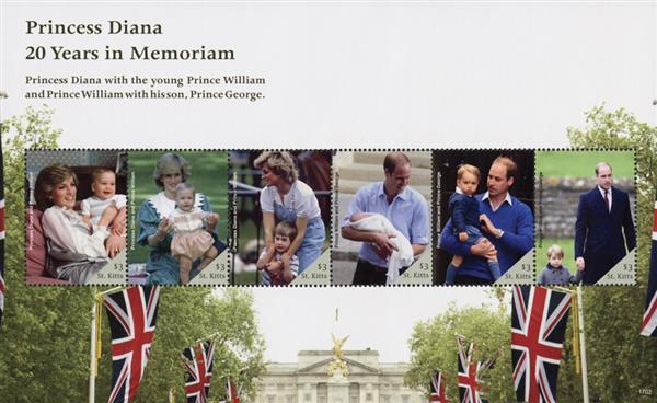 2017 $3 Princess Diana - 20 Years in Memoriam sheet of 6