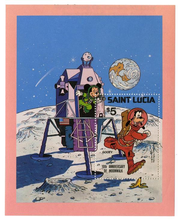 St. Lucia 1980 Goofy on the moon, S/S