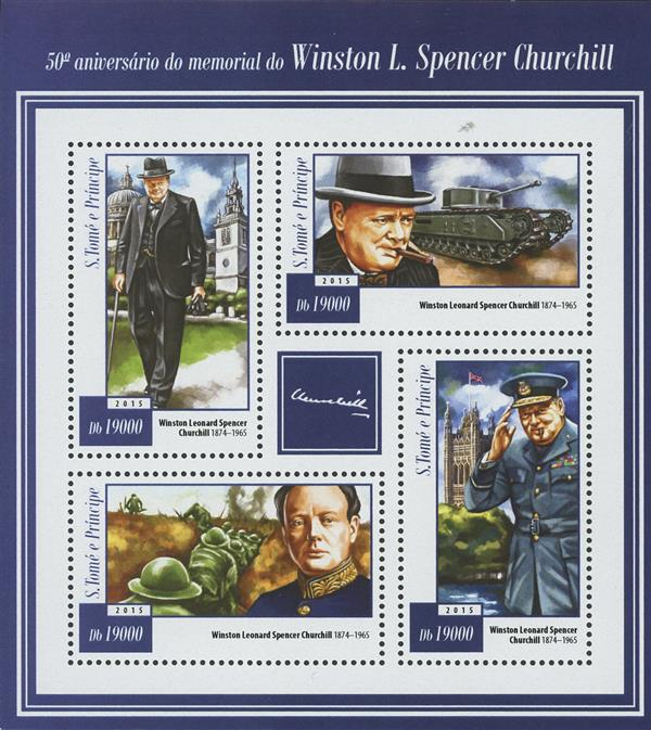 2015 Db19000 Winston Churchill 50th Memorial Anniversary sheet of 4