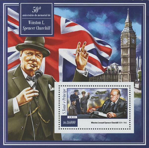 2015 Db86000 Winston Churchill 50th Memorial Anniversary souvenir sheet