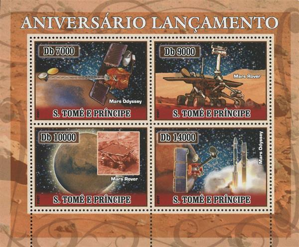 2007 Db7000 Mars Odyssey and Mars Rover Launch Anniversaries sheet of 4