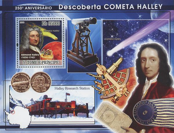 2008 Db95000 Edmond Halley, Discovery of Halleys Comet 250th Anniversary souvenir sheet of 1