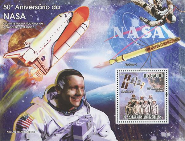 2008 Db95000 Explorer 1 Crew, Nasa 50th Anniversary souvenir sheet of 1