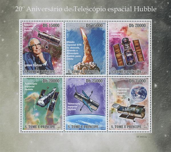 2010 Db15000 Lyman Spitzer, Hubble Telescope 20th Anniversary sheet of 6