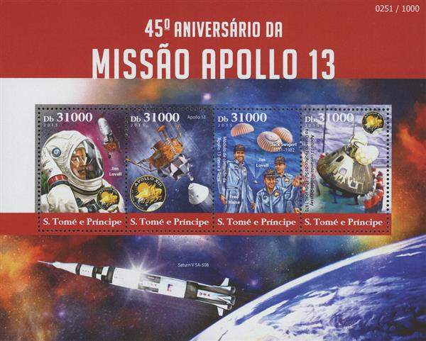 2015 Db31000 Jim Lovell, Apollo 13 45th Anniversary sheet of 4