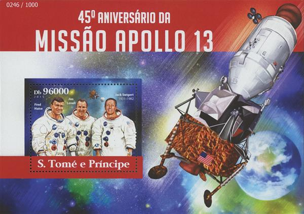 2015 Db96000 Apollo 13 Crew, 45th Anniversary of Apollo 13 souvenir sheet of 1